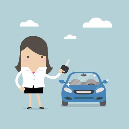 Illustration pour Businesswoman holding a key of a new car vector. - image libre de droit