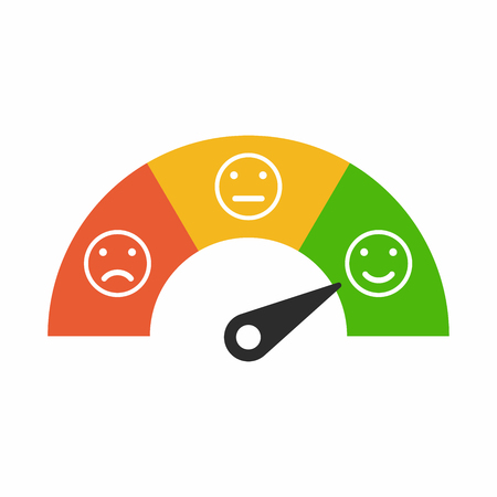 Illustrazione per Customer satisfaction meter with different emotions, emotions scale background. - Immagini Royalty Free