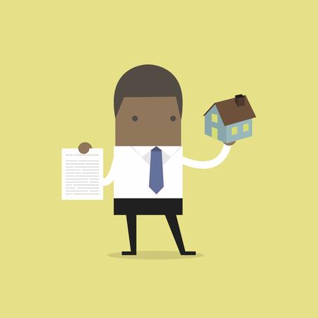Illustration pour African businessman real estate agent holding house and contract. - image libre de droit
