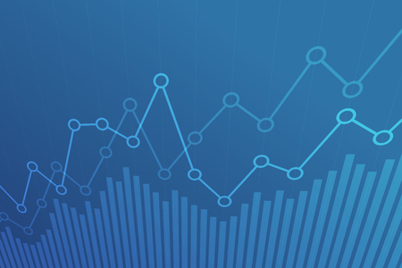 Illustration pour Abstract financial chart with uptrend line graph on blue background. - image libre de droit