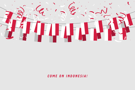 Illustration for Indonesia garland flag with confetti on gray background, Hang bunting for Indonesia celebration template banner. vector - Royalty Free Image
