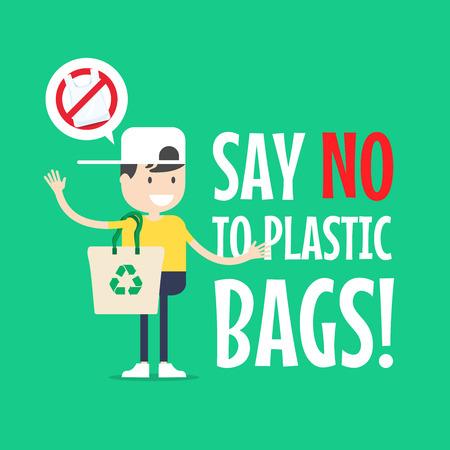 Ilustración de The boy with Tote bag. Say no to plastic bags. - Imagen libre de derechos