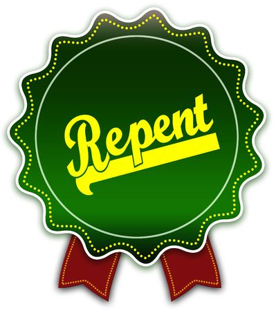 Photo for REPENT round green ribbon. Illustration graphic design concept image - Royalty Free Image