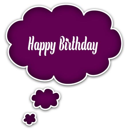 HAPPY BIRTHDAY on magenta thought cloud. Illustration graphic concept