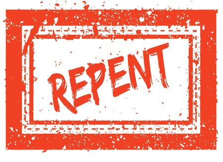 Photo for REPENT on orange square frame rubber stamp with grunge texture. Illustration - Royalty Free Image