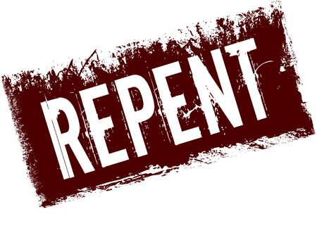 Photo for REPENT on red retro distressed background. Illustration image - Royalty Free Image