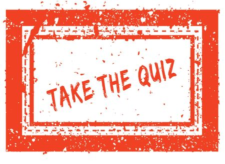 Photo for TAKE THE QUIZ on orange square frame rubber stamp with grunge texture. Illustration - Royalty Free Image