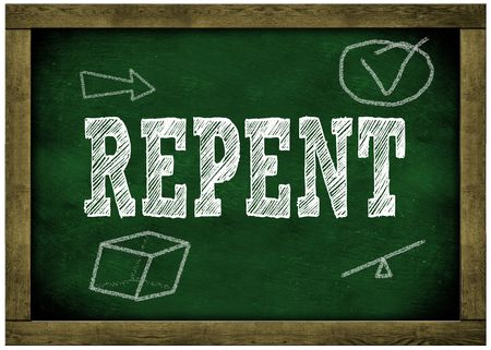 Photo for Wood frame green chalkboard with REPENT message handwritten in chalk. Illustration - Royalty Free Image