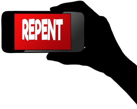 Photo for REPENT on red smartphone screen. Illustration graphic concept image - Royalty Free Image