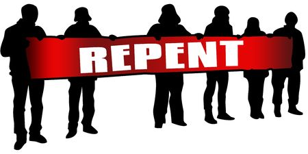 Photo for REPENT on red banner held by people silhouettes at rally. Illustration - Royalty Free Image