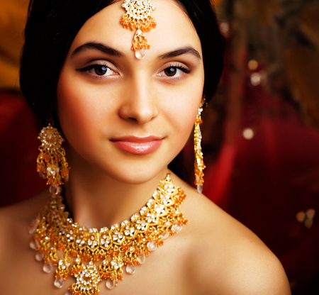 Photo for beauty sweet real indian girl in sari smiling on black backgroun - Royalty Free Image