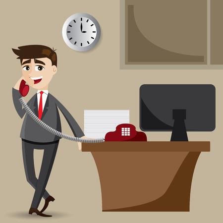 Illustration pour illustration of cartoon businessman on the phone - image libre de droit