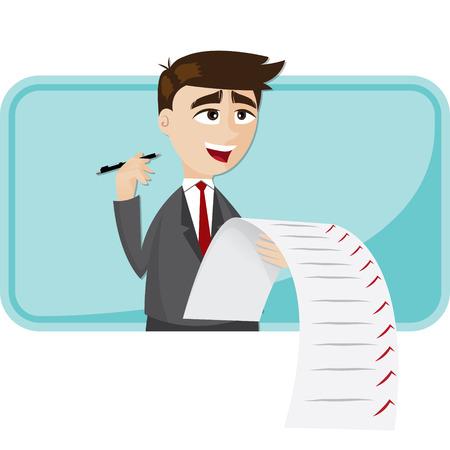 Illustration pour illustration of cartoon businessman with checklist paper - image libre de droit
