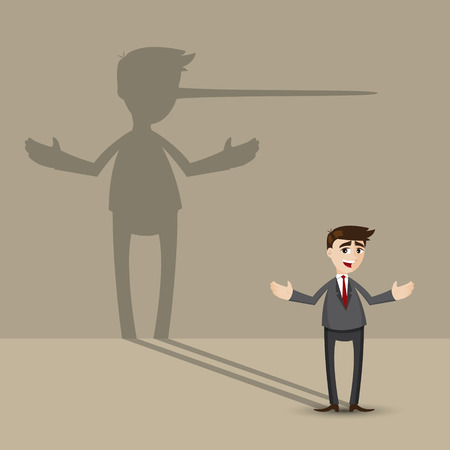 Illustration for illustration of cartoon businessman with long nose shadow on wall in lying concept - Royalty Free Image