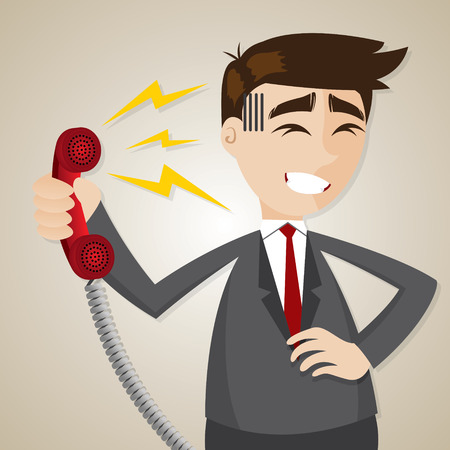 illustration of cartoon businessman with loudness from telephone