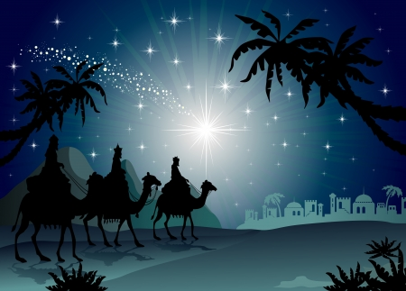 Illustration pour Three Wise Men with camel in the starry night landscape with eastern-transparency blending effects and gradient mesh-EPS 10 - image libre de droit
