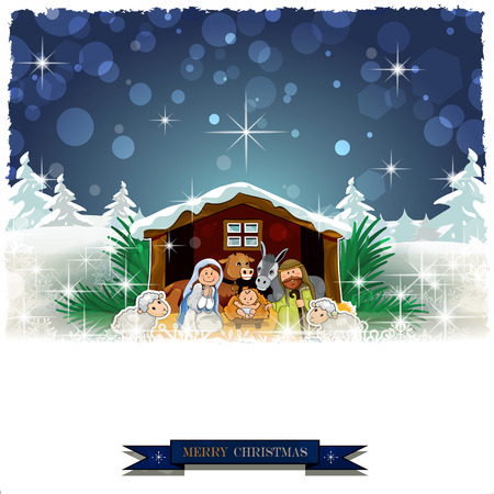 Ilustración de Nativity in the snow with pine trees and Christmas decorations-Vintage effects can be removed-Transparency blending effects and gradient mesh-EPS 10 - Imagen libre de derechos