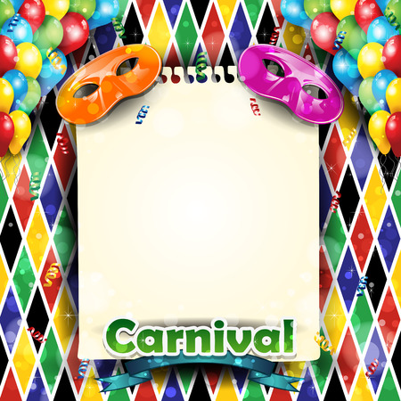 Illustration pour Carnival harlequin background balloons and confetti with-With sheet where you can enter your own text-Transparency blending effects and gradient mesh-EPS 10 - image libre de droit