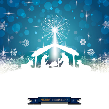 Illustration pour Nativity silhouette White on a Blue Background with Snowflakes-Transparency blending effects and gradient mesh-EPS 10 - image libre de droit