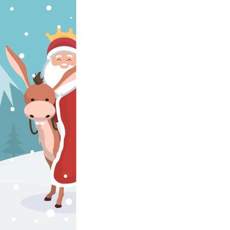 Ilustración de Christmas card of king wizard with white background to write - Imagen libre de derechos