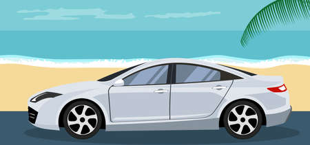 Ilustración de Background of a sedan car parked on the beach in summer - Imagen libre de derechos