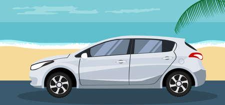 Ilustración de Background of a Hatchback on the beach in summer - Imagen libre de derechos
