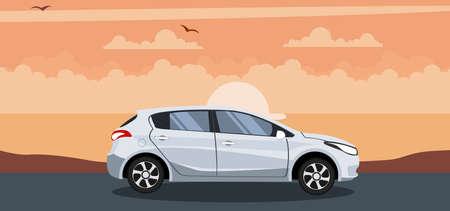 Ilustración de Modern hatchback background on a sunset at the beach - Imagen libre de derechos