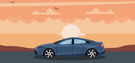 Ilustración de Background of a modern car on a sunset at the beach - Imagen libre de derechos