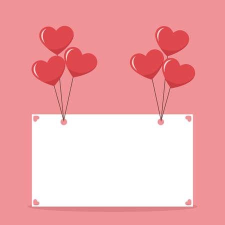 Ilustración de Beautiful valentines card poster with hearts balloons - Imagen libre de derechos