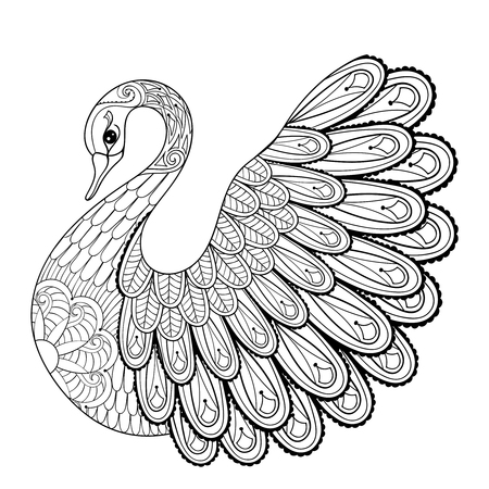 Illustration for Hand drawing artistic Swan for adult coloring pages in doodle, zentangle tribal style, ethnic ornamental patterned tattoo, logo, t-shirt or prints. Animal vector illustration. - Royalty Free Image