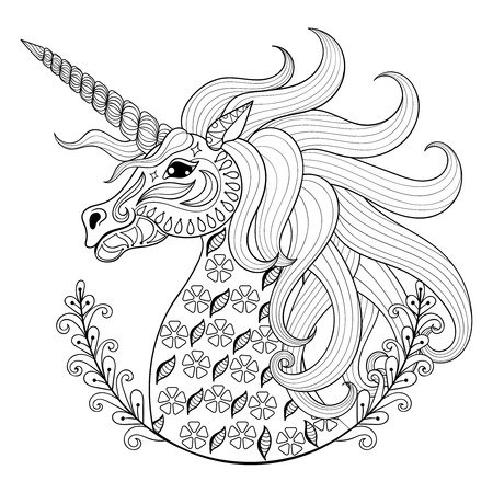Illustration for Hand drawing Unicorn for adult anti stress coloring pages, artistic fairy tale magic animal in zentangle tribal style, patterned illustartion, tattoo isolated on white background. Vector ornamental sketch. - Royalty Free Image
