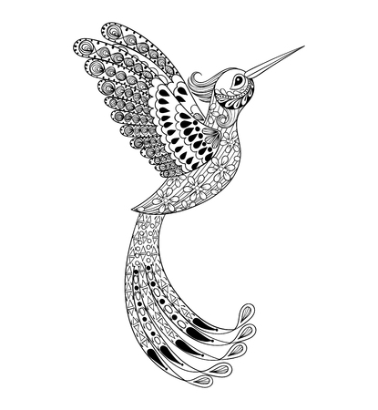 Illustration for Zentangle hand drawn artistically Hummingbird, flying bird tribal totem for adult Coloring Page or tattoo, t-shirt and postcard with high details illustration. Vector monochrome sketch of exotic bird. - Royalty Free Image