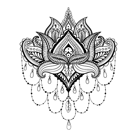Illustration pour Vector ornamental Lotus, ethnic zentangled henna tattoo, patterned Indian paisley for adult anti stress coloring pages.  Hand drawn illustration in doodle style. - image libre de droit