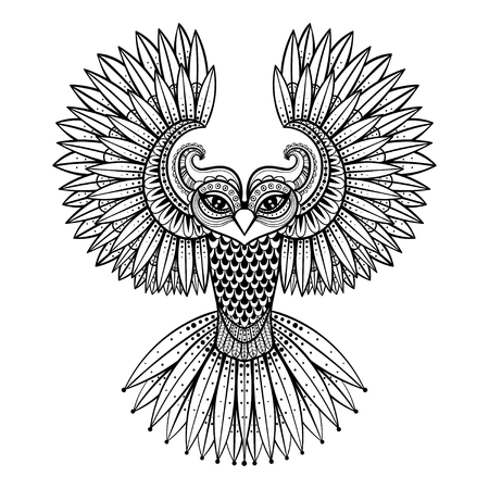 Foto de Vector ornamental Owl, ethnic zentangled mascot, amulet, mask of bird,  patterned animal for adult anti stress coloring pages. Hand drawn totem illustration isolated on background. - Imagen libre de derechos