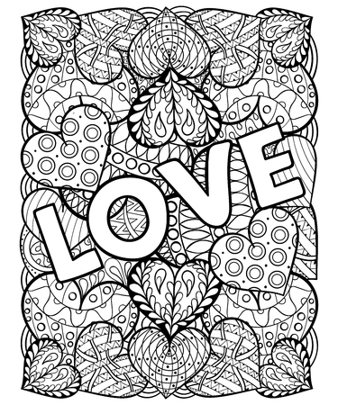 Illustrazione per Hand drawn St. Valentine's day artistically ornamental patterned hearts with love in doodle, zentangle tribal style for adult coloring pages, tattoo, t-shirt or prints. Vector illustration A4 size. - Immagini Royalty Free