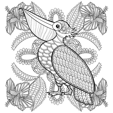 Illustration for Coloring page with Pelican in hibiskus flowers, zentangle illustartion for adult Coloring books or tattoos with high details isolated on white background. Vector monochrome bird sketch. - Royalty Free Image