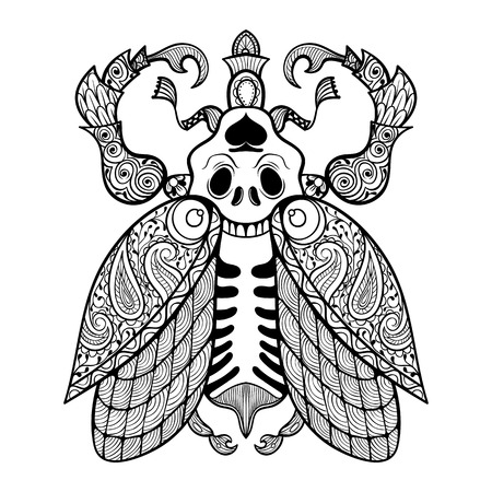 Coloring page of Bug with skull, zentangle illustartion tribal totem insect for adult Coloring books or tattoos with high details isolated on background. Vector monochrome sketch.