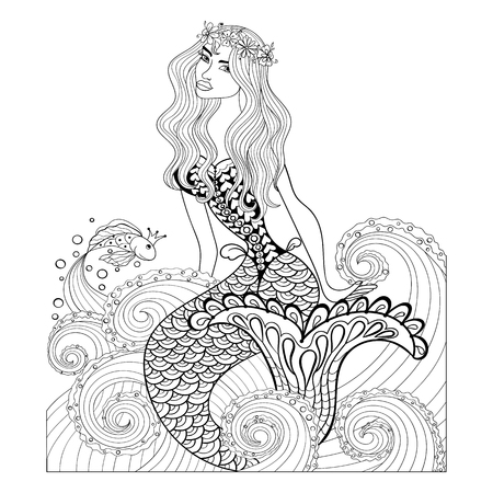 Illustration for Fantastic mermaid in sea waves with a goldfish and wreath on the head for adult anti stress Coloring Page with high details isolated on white background, illustration in zentangle style. - Royalty Free Image