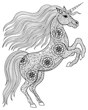 Photo for Hand drawn magic Unicorn for adult anti stress Coloring Page with high details isolated on white background, illustration in zentangle style. Vector monochrome sketch. Animal collection. - Royalty Free Image