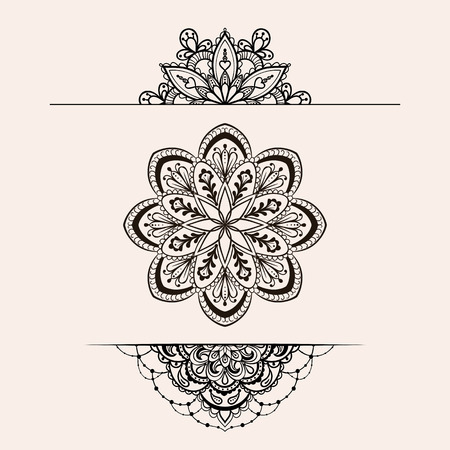 Illustration for Vector henna ethnic mandala set, makhenda boho lace tattoo design in doodle style. Ornamental tribal patterned illustration for coloring page. Hand drawn zentangle sketch isolated on background. - Royalty Free Image