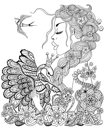 Illustration for Forest fairy with wreath on head hugging swan in flower for antistress Coloring Page with high details isolated on white background, illustration in zentangle style. Vector monochrome sketch. - Royalty Free Image