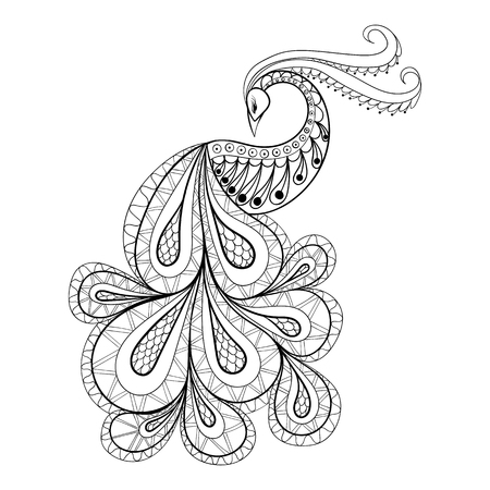 Illustration for Hand drawn peacock  for antistress Coloring Page with high details isolated on white background, illustration in zentangle style. Vector monochrome sketch. Bird collection. - Royalty Free Image