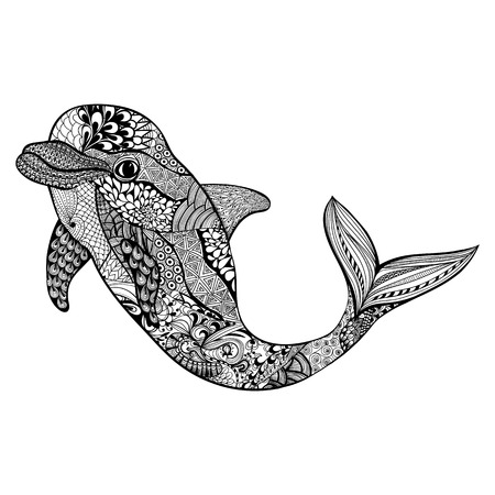Zentangle stylized dolphin. Hand Drawn aquatic doodle vector illustration. Sketch for tattoo or makhenda. Animal sea collection. Ocean life.