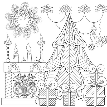 Illustration pour Patterned Christmas home interior with fireplace, Christmas tree, gifts for adult anti stress coloring page, book, art therapy, tattoo. Vector illustration, hand drawn sketch, holiday colour in - image libre de droit