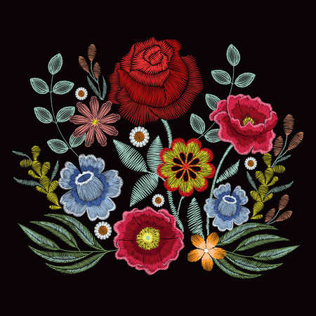 Illustration for Embroidery spring wild flowers for fashion clothes, apparel decoration - Royalty Free Image