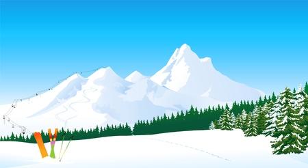 Illustration pour Winter mountain landscape - image libre de droit