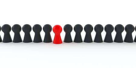 Foto de Red figure comes out of a series of black figures isolated on white background - Imagen libre de derechos
