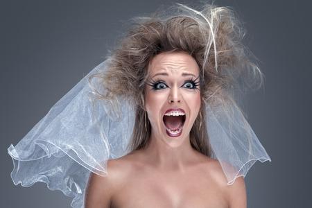 Photo pour Young beautiful fashion model with creative makeup close-up portrait - image libre de droit
