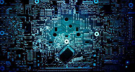 Foto de Electronic circuit grunge background - Imagen libre de derechos