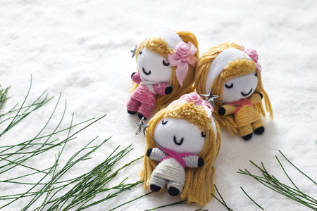 three angel relax sleep on snow befor christmas, doll hand made concept